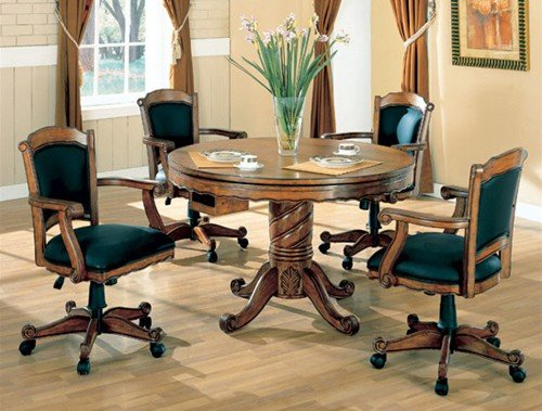 5pc-3-in-1-game-dining-table-arm-chairs-set-oak-finish