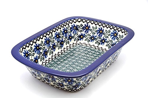"Polish Pottery Baker - 9 3/4"" Rectangular - Blue Chicory Pattern"