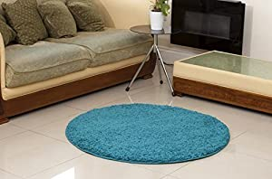 "TEAL BLUE LUXURIOUS THICK SHAGGY RUGS 7 SIZES AVAILABLE 120cm (3ft11"") CIRCLE by HOME SOLUTIONS"