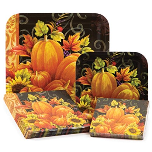 16 each of 3-ply paper beverage napkins and luncheon napkins 16 each of square paper luncheon plates and dinner ...  sc 1 st  Thanksgiving Wikii & Thanksgiving Tableware Kits | Thanksgiving Wikii