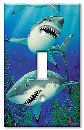 Art Plates - Sharks Switch Plate - Single Toggle (Shark Light Switch compare prices)