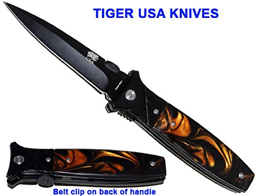 """9"""" Heavy Duty All Black Pocket Knife With Brown Pearl Handle"""