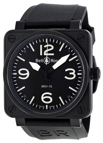 Bell & Ross Men's BR01-92CARBON Aviation Black Rubber Strap Watch