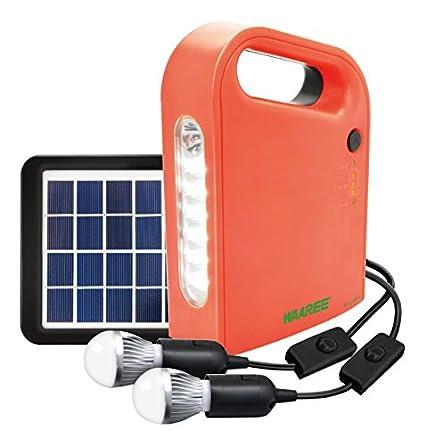 Waaree-Solar-Home-Light-System-(2-LED-Bulbs,-USB-Port,-Solar-Panel)