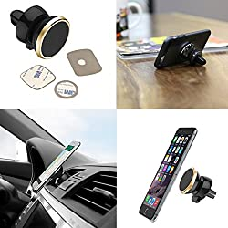DMG Universal Dashboard Magnetic 360 Rotating Smart Mobile Phone Mount Car Cell Phone Holder With Three Metallic Plates (Multicolour)