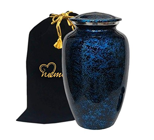 Memorials4u Forest Blue Cremation Urn for Human Ashes - Adult Funeral Urn Handcrafted - Affordable Urn for Ashes - Large Urn Deal (Ashes Urn compare prices)