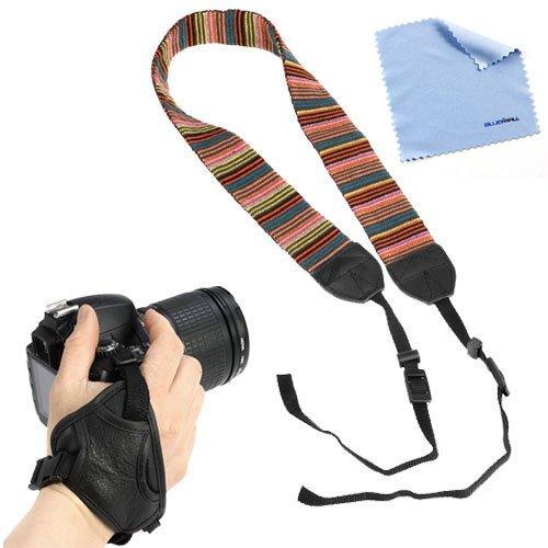 Birugear Soft Multi-Color Classic Camera Shoulder/Neck Strap Belt + Heavy Duty Stabilizing Hand Grip Strap + Cleaning Cloth For Canon Sx510 Hs, Sx50 Hs, Eos 70D, 6D, Sx500 Is, Xt Xti Xs Xsi T1I T2I T3I T3 T4I T5I Sl1; Nikon P530 D5300 D3300 D7100 D800 D4