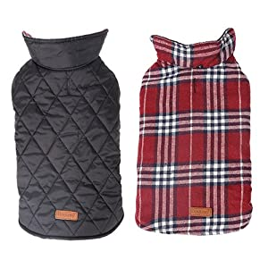 Reversible British Style Grid Dog Jacket,GOPAW,Water Repellent Quilted Winter Clothes for Pet,Red XL