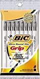 BIC Ultra Round Stic Grip Ball Pen, Medium Point, 1.2mm, Black, 8-Count (GSMGP81-Blk)
