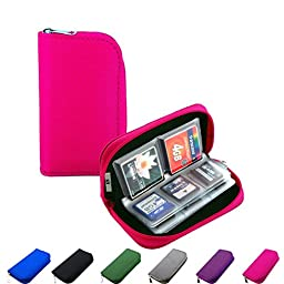 Litop® Memory Card Carrying Case Holder Pouch Bag 8 Pages and 22 Slots for SDHC SD Cards MMC CF Micro SD Storage Protector (Hot Pink)