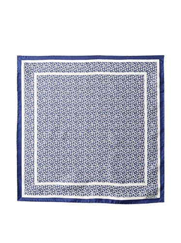 CHANEL Women's Patterned Silk Scarf, Blue/White