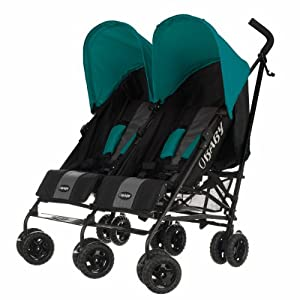 Obaby Apollo Black & Grey Twin Stroller (Turquoise)