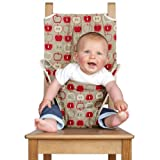 Totseat The Washable Squashable Portable Travel Highchair - Fits almost any chair! Baby Seat (Red Apples) - with carry pouch