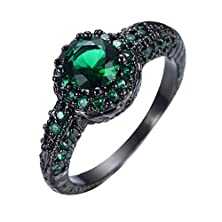 buy Junxin Jewelry Sz6-10 Birthstone Halo Rings Black Gold Plated 8Mm Round Cut Emerald Zircon Size9