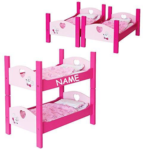 Doppelstockbett für Puppen - aus Holz incl.