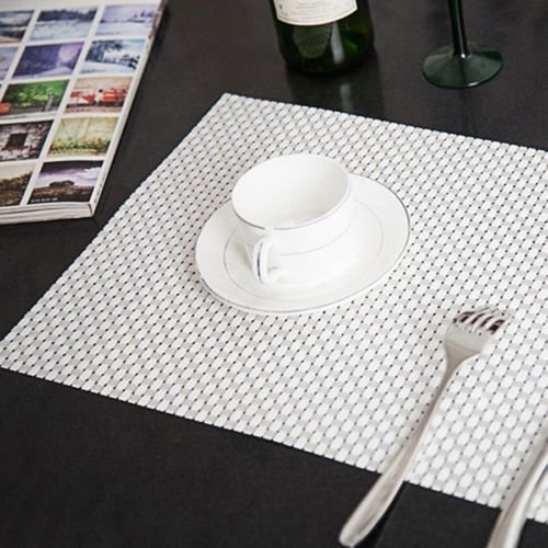 Placemats Decorative, Placemats Bulk PVC Woven Placemats Insulation Tableware Dining Pad Hotel Western Table Mats, PVC, Environmental, Placemats For Kids (White) (Kids Dining Ware compare prices)