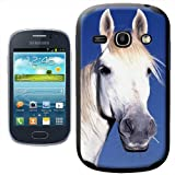 Fancy A Snuggle White Horses Face Design Hard Case Clip On Back Cover for Samsung Galaxy Fame S6810