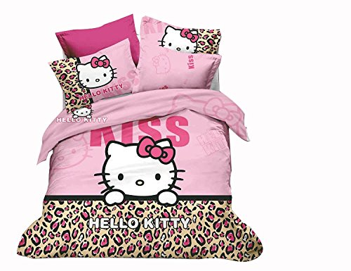 Cliab 5 Pieces Reversible And Removable Pink Queen Size Hello Kitty Comforter Set Duvet-Styled Pink Hello Kitty Leopard Bedding Hello Kitty Bedding Queen Size Set Machine Washable