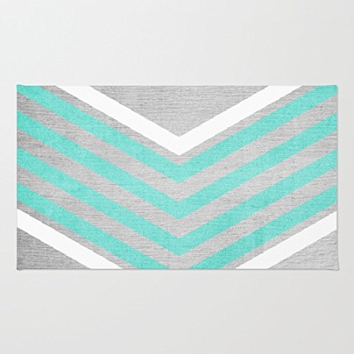 Poppylife Teal and White Chevron on Silver Grey Wood Rug Bathroom Kitchen Entry Coral Fleece Doormats Capet 20