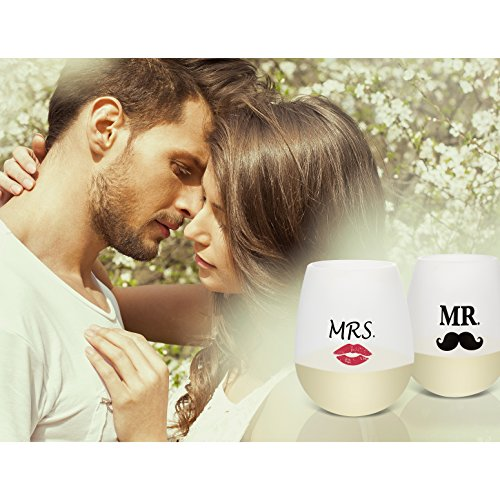 Goodmanns Mr and Mrs Stemless Silicone Wine Glass Set
