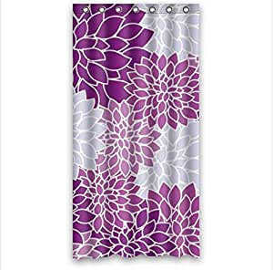 Purple and light blue dahlia floral waterproof for Light purple bathroom accessories