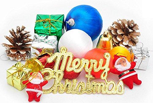 クリスマス ツリー オーナメント サンタ クロース ボール プレゼントBOX パインコーン ベル 文字 装飾 セット 大・小 (サイズ小(2-6cm))