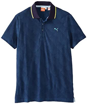 Puma Golf Men's Jacquard Polo, Brilliant Blue-Evening Blue, Medium