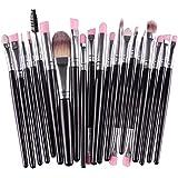 MELADY®20pcs Multi-function Black+Silver Pro Cosmetic Powder Foundation Eyeshadow Eyeliner Lip Makeup Brushes...