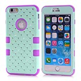 Vogue shop iPhone 6 Diamond Star 3 in1 3 pieces Design Hybrid Case for Apple iPhone 6 (4.7)Luxurious Hybrid Dual Layer Lattice Total Defense Bling Rhinestone Diamond Full Cover Case for iPhone 6 (light blue/purple)