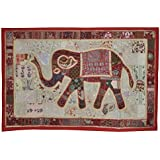 Elegant Elephant Work Cotton Wall Hanging For Room Decoration 101 x 152 Cm