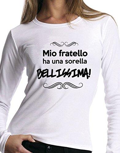 """t-shirt manica lunga Fratello e sorella humor """" Mio fratello ha una sorella bellissima"""" - S M L XL XXL uomo donna bambino maglietta by tshirteria"""