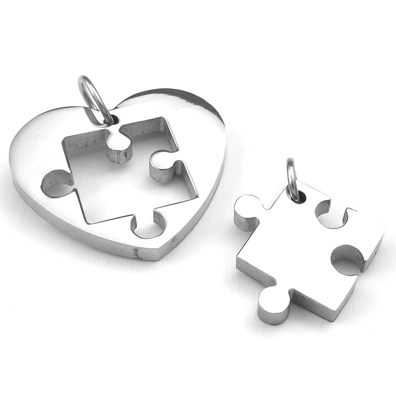 KONOV Jewelry 2pcs Mens Womens Couples Stainless Steel Heart Puzzle Pendant Love Necklace Set, Silver