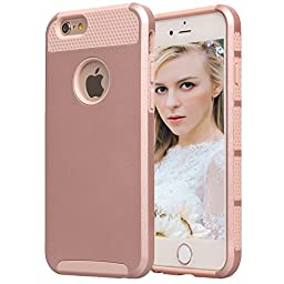 iPhone 6s Case,BAROX iPhone 6 Case Soft Flexible Shell Slim Case Translucent Impact Resistant Flexible TPU Soft Shock-Absorbing Bumper Protective Shell for Apple iPhone 6/6s 4.7 inch(Rose Gold)