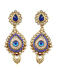 Antique INDIA Traditional Bollywood Pearl Stone Polki Earring-Blue