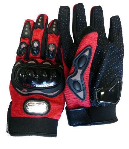 Carbon Fiber Pro-Biker Bike Motorcycle Motorbike Racing Gloves Full Red, Blue, Black (Large, Red)
