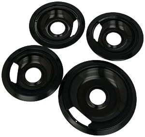 Range Kleen P1056RGE8Z Porcelain GE Hinged Drip Pans Set Of 8 Containing 3 Units each P105 & Pr6GE, 1 unit each P106 & Pr8GE, Black