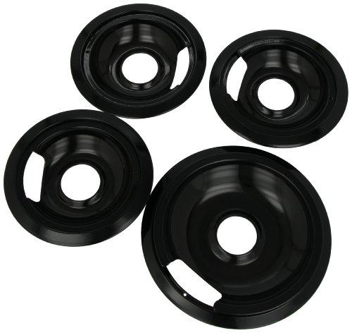 Range Kleen P1056RGE8Z Porcelain GE Hinged Drip Pans Set Of 8 Containing 3 Units each P105 & Pr6GE, 1 unit each P106 & Pr8GE, Black (Electric Stove Bibs compare prices)