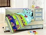 Clase Baby Set de funda de edredón (100x 150cm), color azul _ blanco multicolor verde Talla:100 x 150 cm