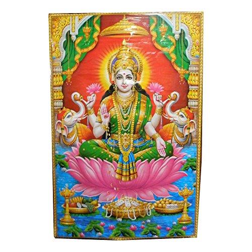 poster-xl-lakshmi-146-x-96-cm-lotus-elephants-brillant-dore-inde-accessoire-hindouisme-decoration-ma