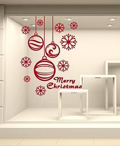 Adesivi murali vetrofania natalizia 39 pendenti con fiocchi - Adesivi natalizi per finestre ...