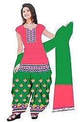 Dharmnandan Fashion Panghat Baby Pink color Cotton Woman's Fancya Dress Material