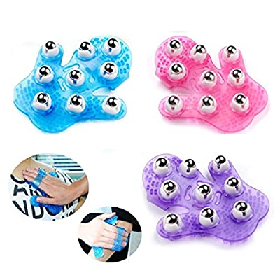 Easywin Smoothing Massage Mitt Palm Shaped Ball Roller Cellulite Body Massager with 9pcs 360-degree-roller Metal Roller Ball Beauty Body Care Stress Relief
