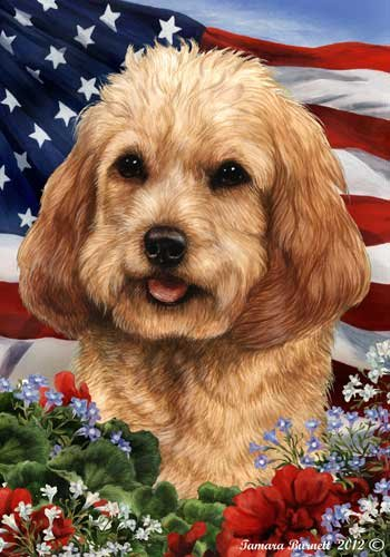 Cockapoo Dog Breed Patriotic House Flag 28 x 40 Inches