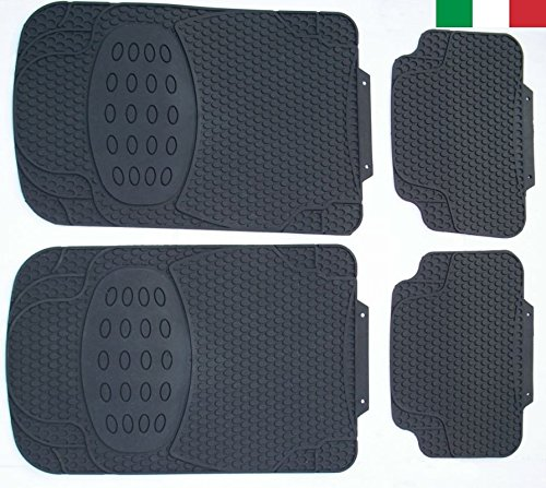 Cenni 27853 - Set 4 Tappeti Auto in Gomma Inodore, Universali, Sagomabili, Made in Italy