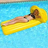 """74"""" Yellow Swimming Pool Inflatable Canopy Floating Air Mattress Raft"""