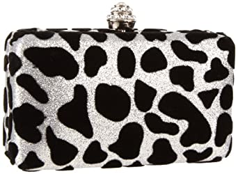 Magid Animal Print Glitter Box E7347 Clutch,Silver,One Size