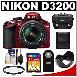 Nikon D3200 Digital SLR Camera & 18-55mm G VR DX AF-S Zoom Lens (Red) with 16GB Card + Case + Filter + Remote + Accessory Kit