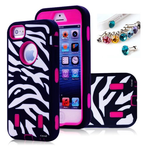 =>  Cocoz® Deluxe Printed Hard Soft High Impact Hybrid Case Combo for Apple Iphone 5 , (Iphone 5, Zebra Hot Pink)--0001