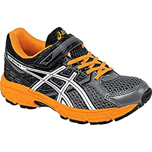 ASICS Pre Contend 3 PS Running Shoe (Toddler/Little Kid), Carbon/White/Orange, 12 M US Little Kid