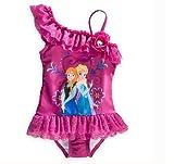 ディズニー  Disney風  アナと雪の女王 エルサ ワンピース水着 女の子用  UVカード